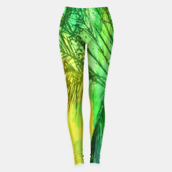 Thumbnail image of palm tree with green and yellow painting texture abstract background Leggings, Live Heroes