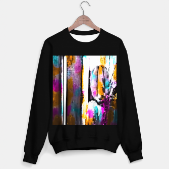 Thumbnail image of cactus with wooden background and colorful painting abstract in orange blue pink Sweater regular, Live Heroes