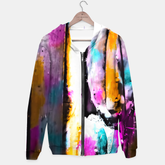 Thumbnail image of cactus with wooden background and colorful painting abstract in orange blue pink Hoodie, Live Heroes