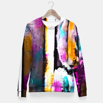 Thumbnail image of cactus with wooden background and colorful painting abstract in orange blue pink Fitted Waist Sweater, Live Heroes