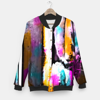 Thumbnail image of cactus with wooden background and colorful painting abstract in orange blue pink Baseball Jacket, Live Heroes