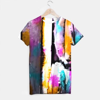 Thumbnail image of cactus with wooden background and colorful painting abstract in orange blue pink T-shirt, Live Heroes