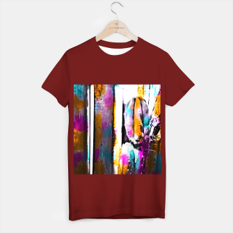 Thumbnail image of cactus with wooden background and colorful painting abstract in orange blue pink T-shirt regular, Live Heroes