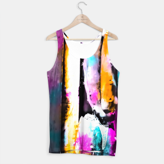 Thumbnail image of cactus with wooden background and colorful painting abstract in orange blue pink Tank Top, Live Heroes