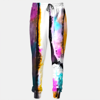 Thumbnail image of cactus with wooden background and colorful painting abstract in orange blue pink Sweatpants, Live Heroes