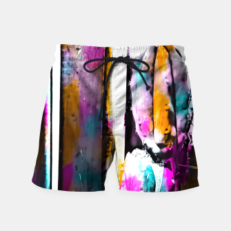 Thumbnail image of cactus with wooden background and colorful painting abstract in orange blue pink Swim Shorts, Live Heroes
