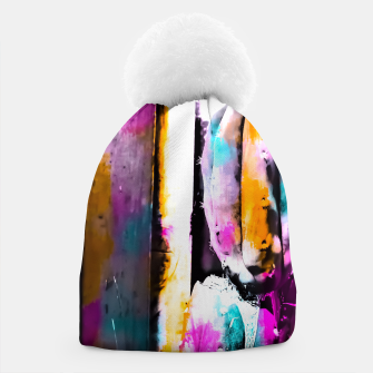 Thumbnail image of cactus with wooden background and colorful painting abstract in orange blue pink Beanie, Live Heroes