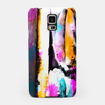 Thumbnail image of cactus with wooden background and colorful painting abstract in orange blue pink Samsung Case, Live Heroes