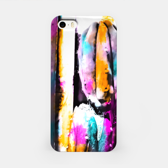Thumbnail image of cactus with wooden background and colorful painting abstract in orange blue pink iPhone Case, Live Heroes