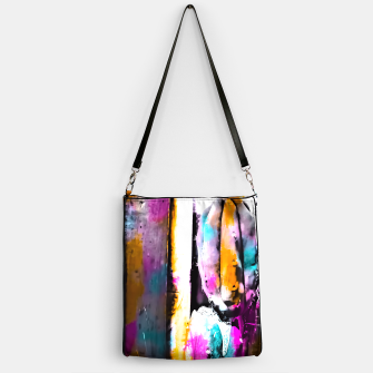 Thumbnail image of cactus with wooden background and colorful painting abstract in orange blue pink Handbag, Live Heroes