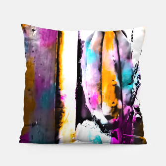 Thumbnail image of cactus with wooden background and colorful painting abstract in orange blue pink Pillow, Live Heroes