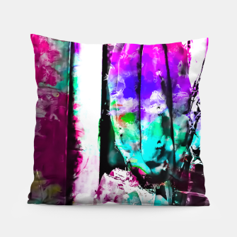 Thumbnail image of cactus with wood background in painting texture abstract in pink purple green blue Pillow, Live Heroes