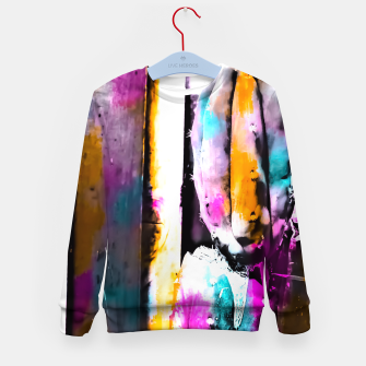 Thumbnail image of cactus with wooden background and colorful painting abstract in orange blue pink Kid's Sweater, Live Heroes