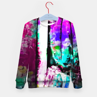Thumbnail image of cactus with wood background in painting texture abstract in pink purple green blue Kid's Sweater, Live Heroes
