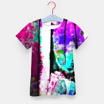 Thumbnail image of cactus with wood background in painting texture abstract in pink purple green blue Kid's T-shirt, Live Heroes