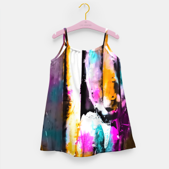 Thumbnail image of cactus with wooden background and colorful painting abstract in orange blue pink Girl's Dress, Live Heroes