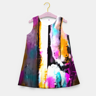 Thumbnail image of cactus with wooden background and colorful painting abstract in orange blue pink Girl's Summer Dress, Live Heroes