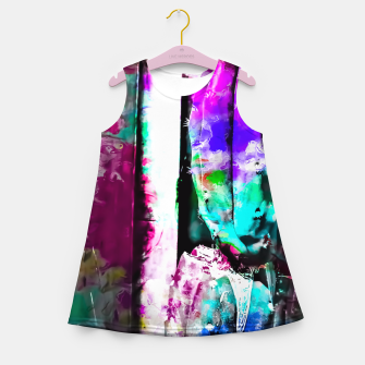 Thumbnail image of cactus with wood background in painting texture abstract in pink purple green blue Girl's Summer Dress, Live Heroes
