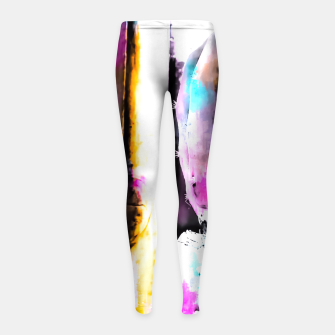 Thumbnail image of cactus with wooden background and colorful painting abstract in orange blue pink Girl's Leggings, Live Heroes