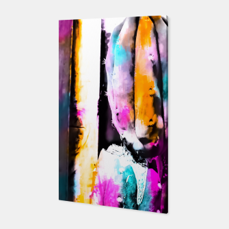 Thumbnail image of cactus with wooden background and colorful painting abstract in orange blue pink Canvas, Live Heroes