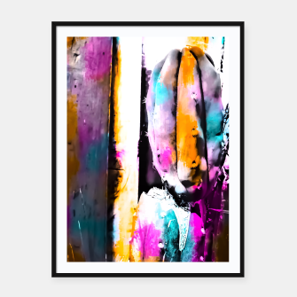 Thumbnail image of cactus with wooden background and colorful painting abstract in orange blue pink Framed poster, Live Heroes