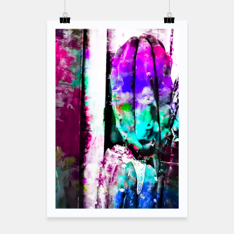 Thumbnail image of cactus with wood background in painting texture abstract in pink purple green blue Poster, Live Heroes