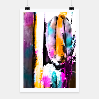 Thumbnail image of cactus with wooden background and colorful painting abstract in orange blue pink Poster, Live Heroes
