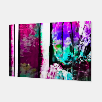 Thumbnail image of cactus with wood background in painting texture abstract in pink purple green blue Canvas, Live Heroes