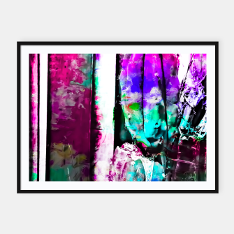 Thumbnail image of cactus with wood background in painting texture abstract in pink purple green blue Framed poster, Live Heroes