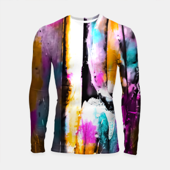Thumbnail image of cactus with wooden background and colorful painting abstract in orange blue pink Longsleeve Rashguard , Live Heroes