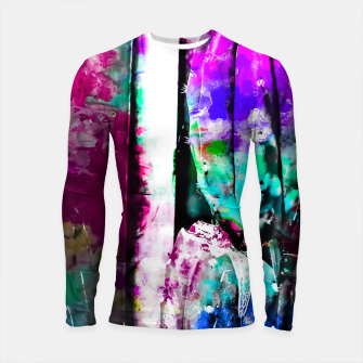 Thumbnail image of cactus with wood background in painting texture abstract in pink purple green blue Longsleeve Rashguard , Live Heroes