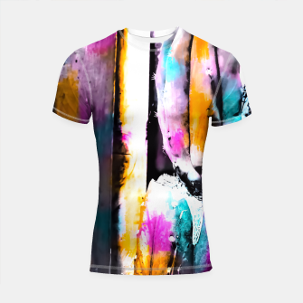 Thumbnail image of cactus with wooden background and colorful painting abstract in orange blue pink Shortsleeve Rashguard, Live Heroes