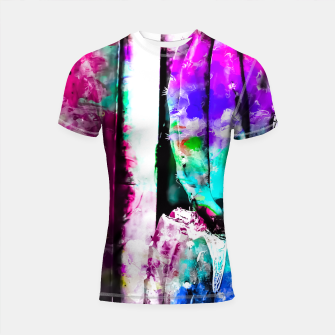 Thumbnail image of cactus with wood background in painting texture abstract in pink purple green blue Shortsleeve Rashguard, Live Heroes