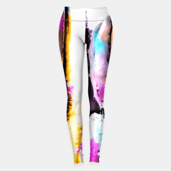 Thumbnail image of cactus with wooden background and colorful painting abstract in orange blue pink Leggings, Live Heroes