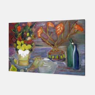 Miniatur  still life with roses in bamboo Canvas, Live Heroes