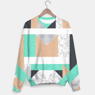 Thumbnail image of Abstract Geo - Mint, Wood and Marble Sweater, Live Heroes