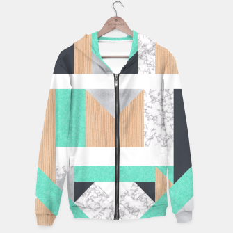 Thumbnail image of Abstract Geo - Mint, Wood and Marble Hoodie, Live Heroes