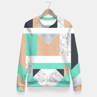 Thumbnail image of Abstract Geo - Mint, Wood and Marble Fitted Waist Sweater, Live Heroes