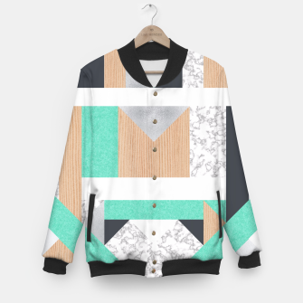 Thumbnail image of Abstract Geo - Mint, Wood and Marble Baseball Jacket, Live Heroes
