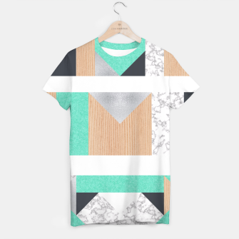 Thumbnail image of Abstract Geo - Mint, Wood and Marble T-shirt, Live Heroes