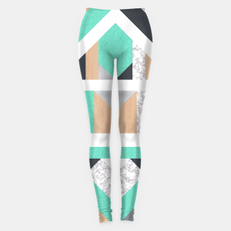 Thumbnail image of Abstract Geo - Mint, Wood and Marble Leggings, Live Heroes