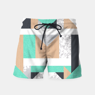 Thumbnail image of Abstract Geo - Mint, Wood and Marble Swim Shorts, Live Heroes