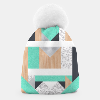 Thumbnail image of Abstract Geo - Mint, Wood and Marble Beanie, Live Heroes