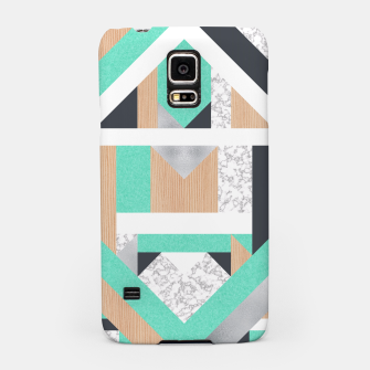 Thumbnail image of Abstract Geo - Mint, Wood and Marble Samsung Case, Live Heroes
