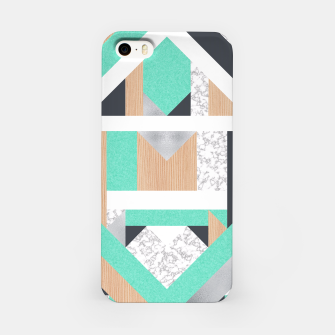 Thumbnail image of Abstract Geo - Mint, Wood and Marble iPhone Case, Live Heroes