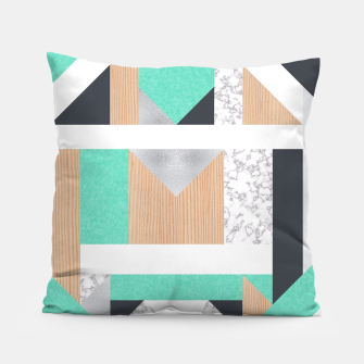 Thumbnail image of Abstract Geo - Mint, Wood and Marble Pillow, Live Heroes