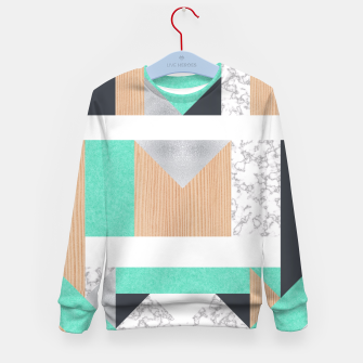 Thumbnail image of Abstract Geo - Mint, Wood and Marble Kid's Sweater, Live Heroes