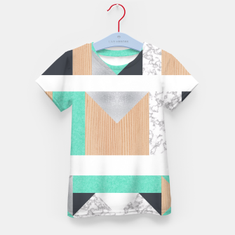 Thumbnail image of Abstract Geo - Mint, Wood and Marble Kid's T-shirt, Live Heroes