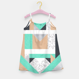 Thumbnail image of Abstract Geo - Mint, Wood and Marble Girl's Dress, Live Heroes