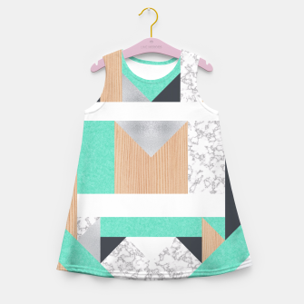 Thumbnail image of Abstract Geo - Mint, Wood and Marble Girl's Summer Dress, Live Heroes